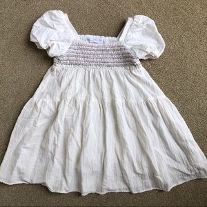 Zara Ivory Smocked Trendy Peasant Dress 5